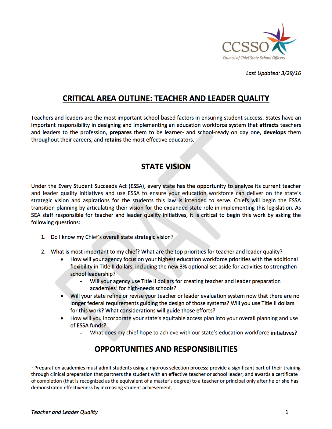 Critical Area Outline - Teacher and Leader Quality page 1