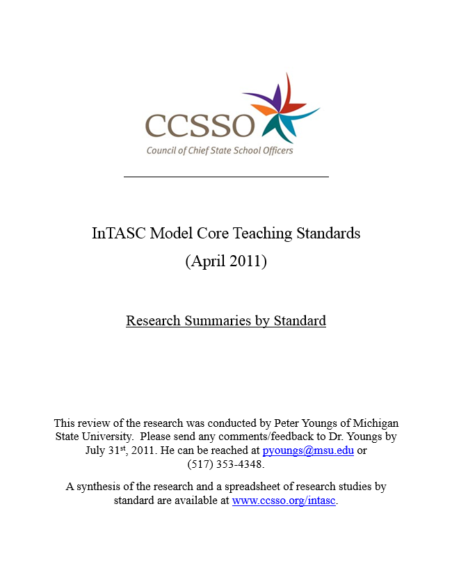 InTASC Research Summaries by Standard Cover