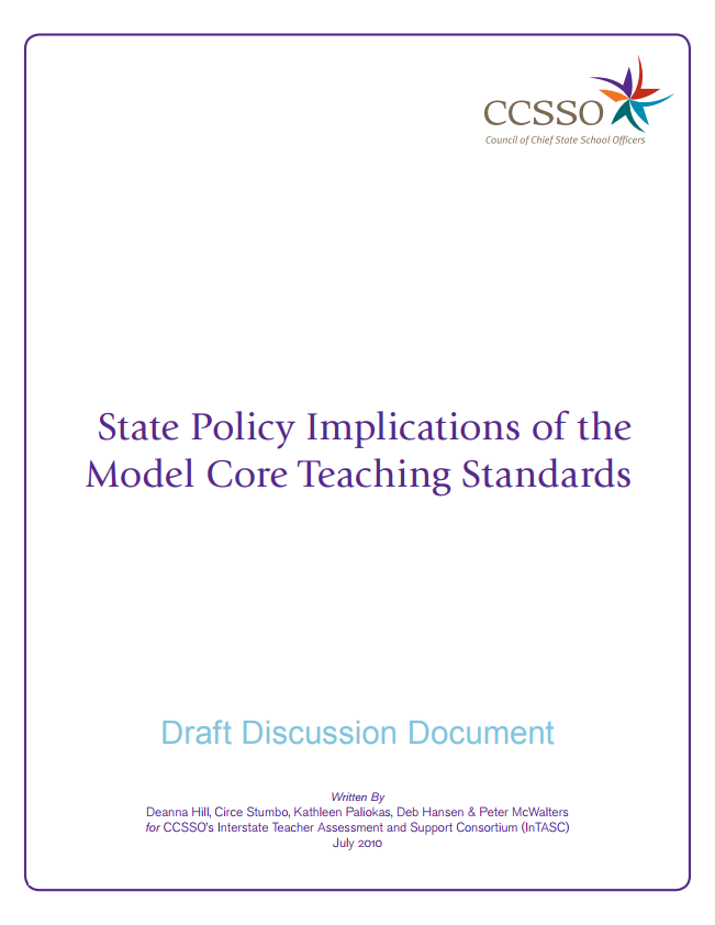 State Policy Implications of the Model Core Teaching Standards Cover