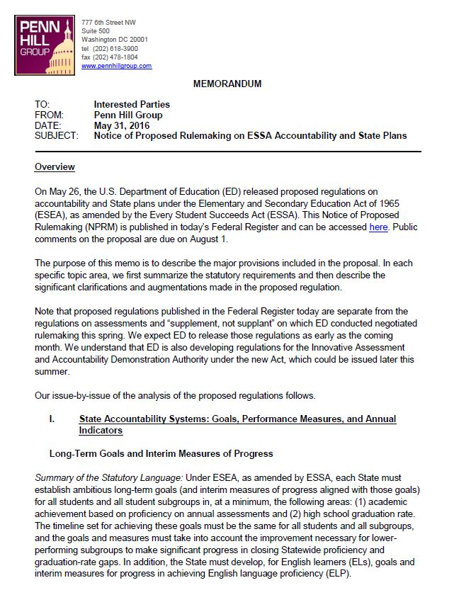 Notice Of Proposed Rulemaking On Essa Accountability And State Plans
